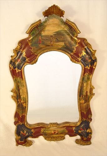 6: PAINTED  GESSO AND CARVED WOOD MIRROR