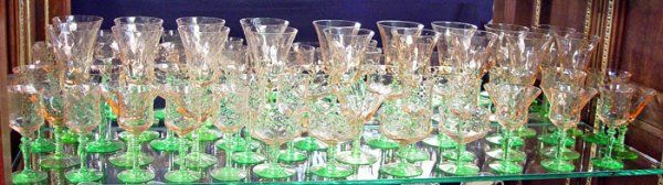 480: 42 PC VASELINE & PINK DEPRESSION ERA GLASS WARE