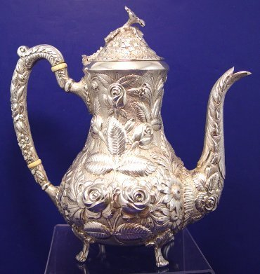 1001: STIEFF HAND CHASED REPOUSSE STERLING TEA POT