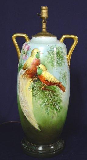 1004: 20'' BIRD PAINTED ROYAL AUSTRIA PORCELAIN VASE