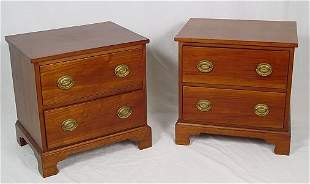 """DIMINUTIVE TWO DRAWER CHERRY STANDS MINIATURE 20"""""""