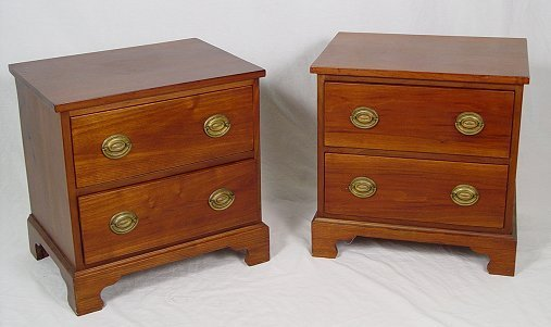 """1005: DIMINUTIVE TWO DRAWER CHERRY STANDS MINIATURE 20"""""""