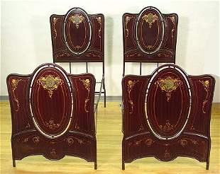 PR ART NOUVEAU PAINT DECORATED IRON TWIN BEDS