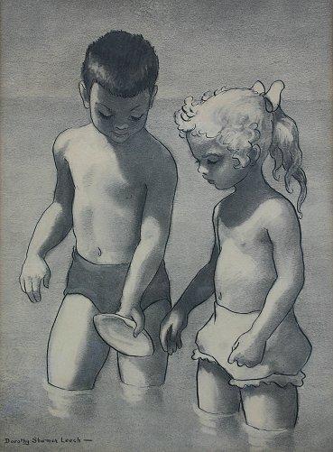 1016: DOROTHY SHERMAN LEECH CHILDREN AT BEACH PAINTING