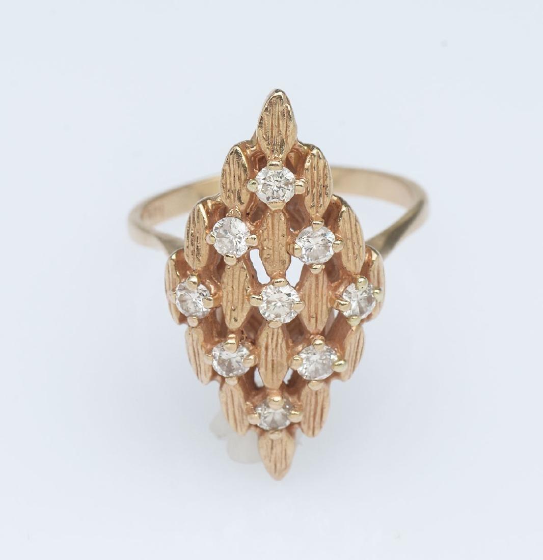 14K GEOMETRIC ART DECO DIAMOND RING