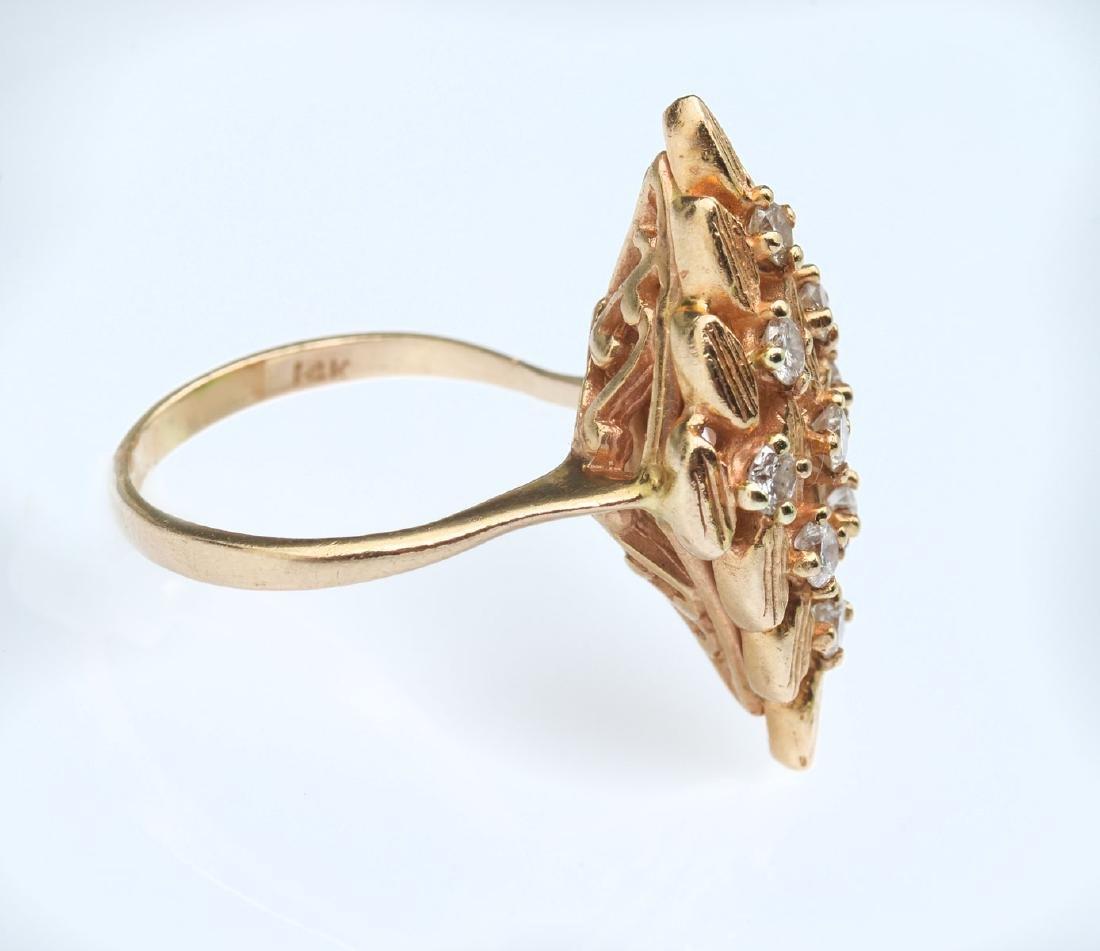14K GEOMETRIC ART DECO DIAMOND RING - 2