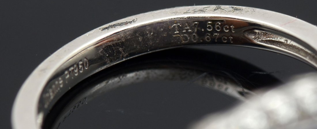 PLATINUM & 7.56 CT TANZANITE AND DIAMOND RING - 4
