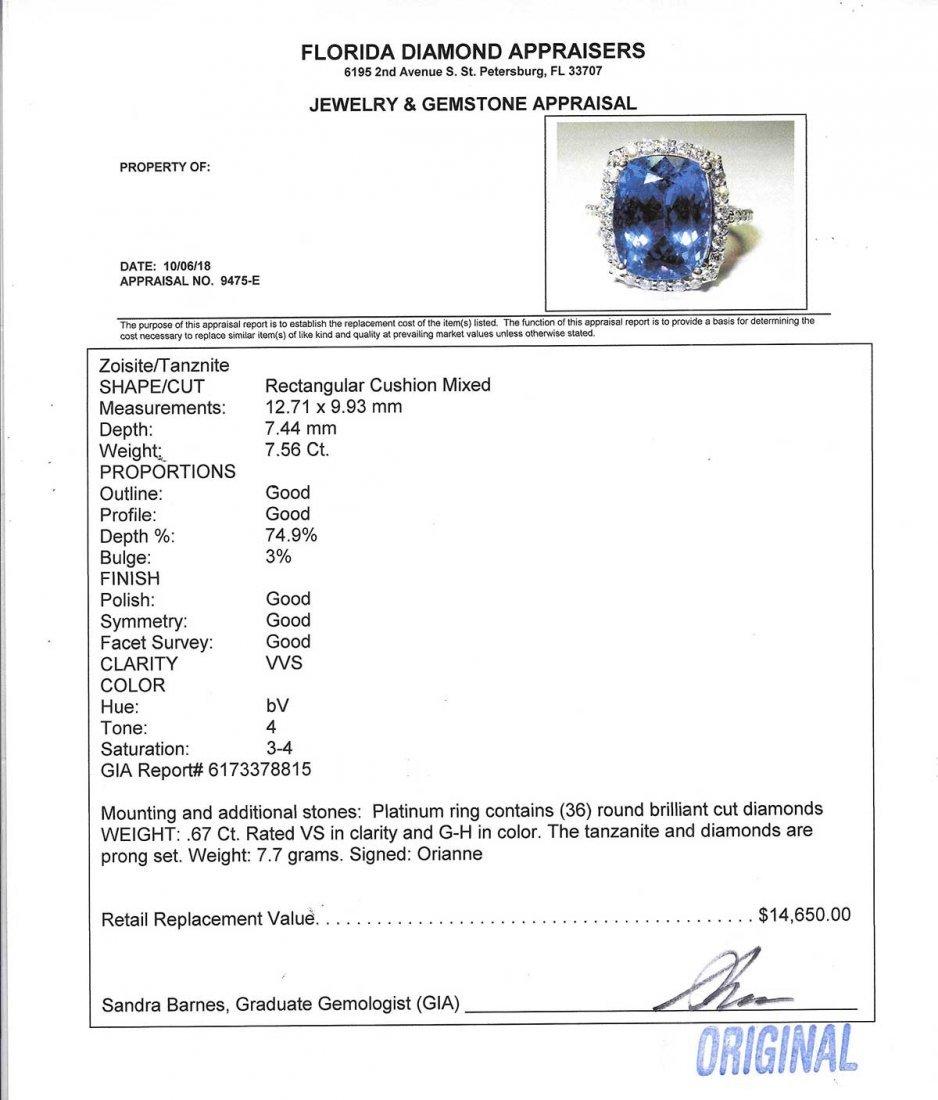 PLATINUM & 7.56 CT TANZANITE AND DIAMOND RING - 6