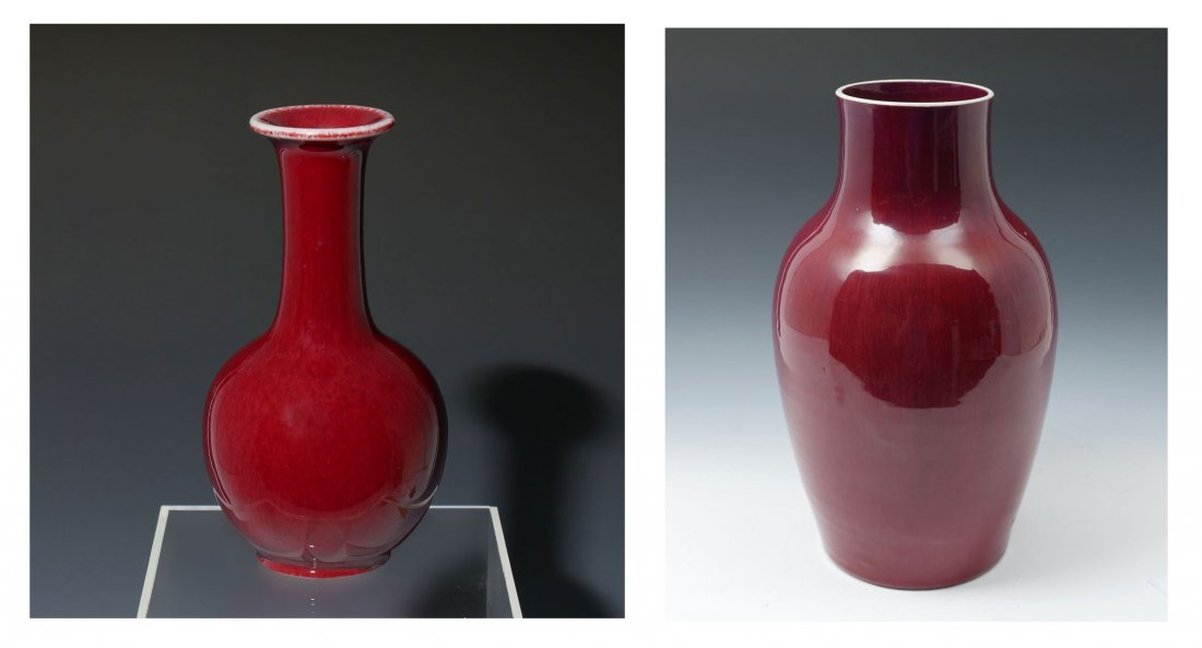 2 PIECE CHINESE RED FLAMBE GLAZED VASES
