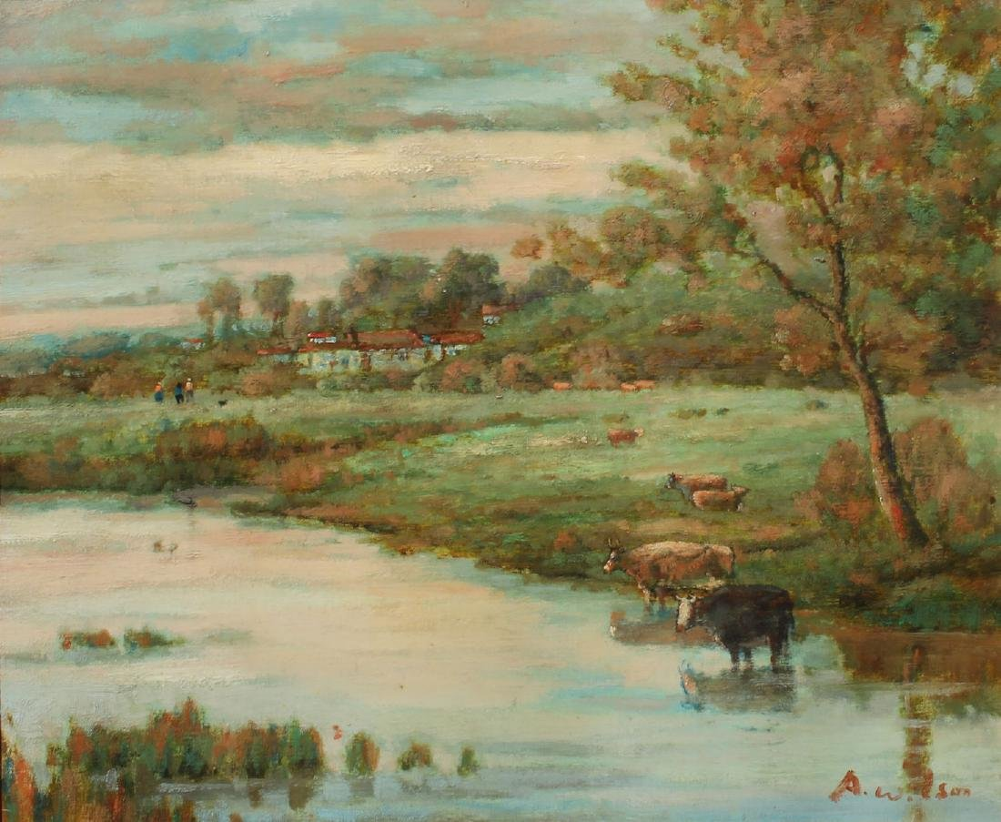 PAINTING WITH COWS WATERING SIGNED A. WILSON