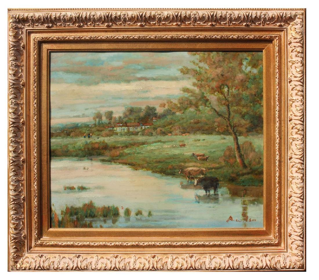 PAINTING WITH COWS WATERING SIGNED A. WILSON - 2