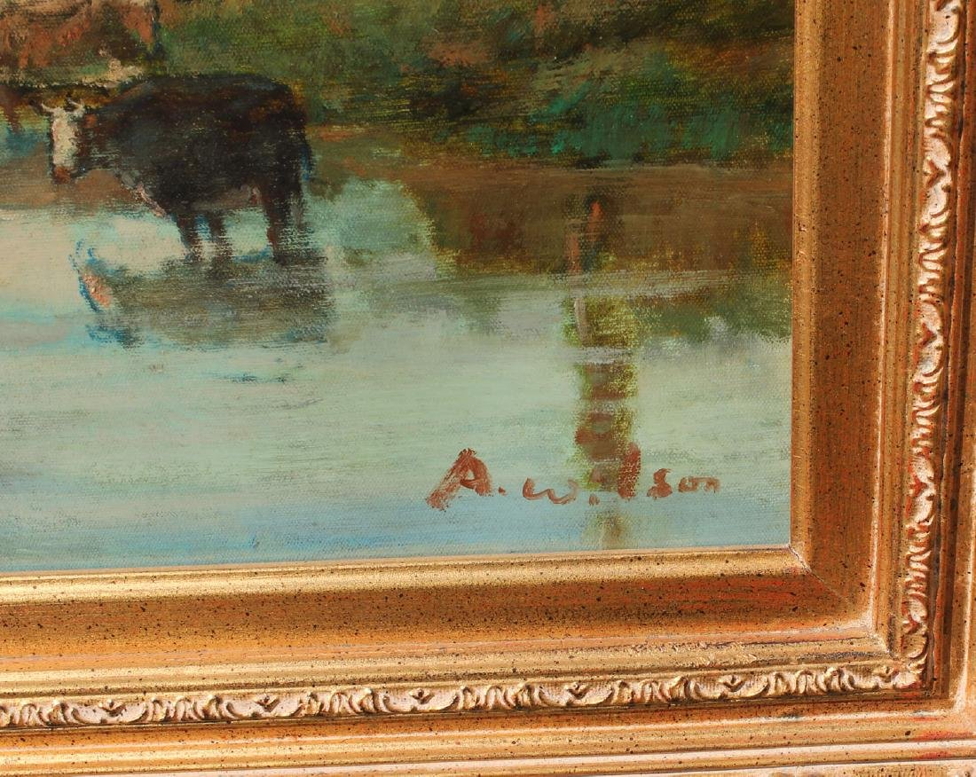 PAINTING WITH COWS WATERING SIGNED A. WILSON - 3
