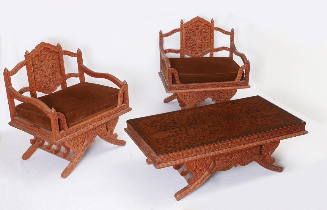 ASIAN CARVED PARLOR SUITE 2 CHAIRS WITH COFFEE TABLE