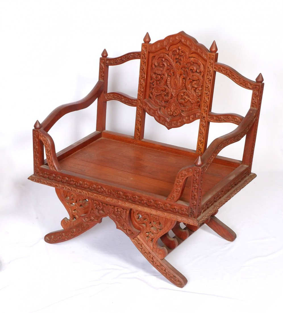 ASIAN CARVED PARLOR SUITE 2 CHAIRS WITH COFFEE TABLE - 3