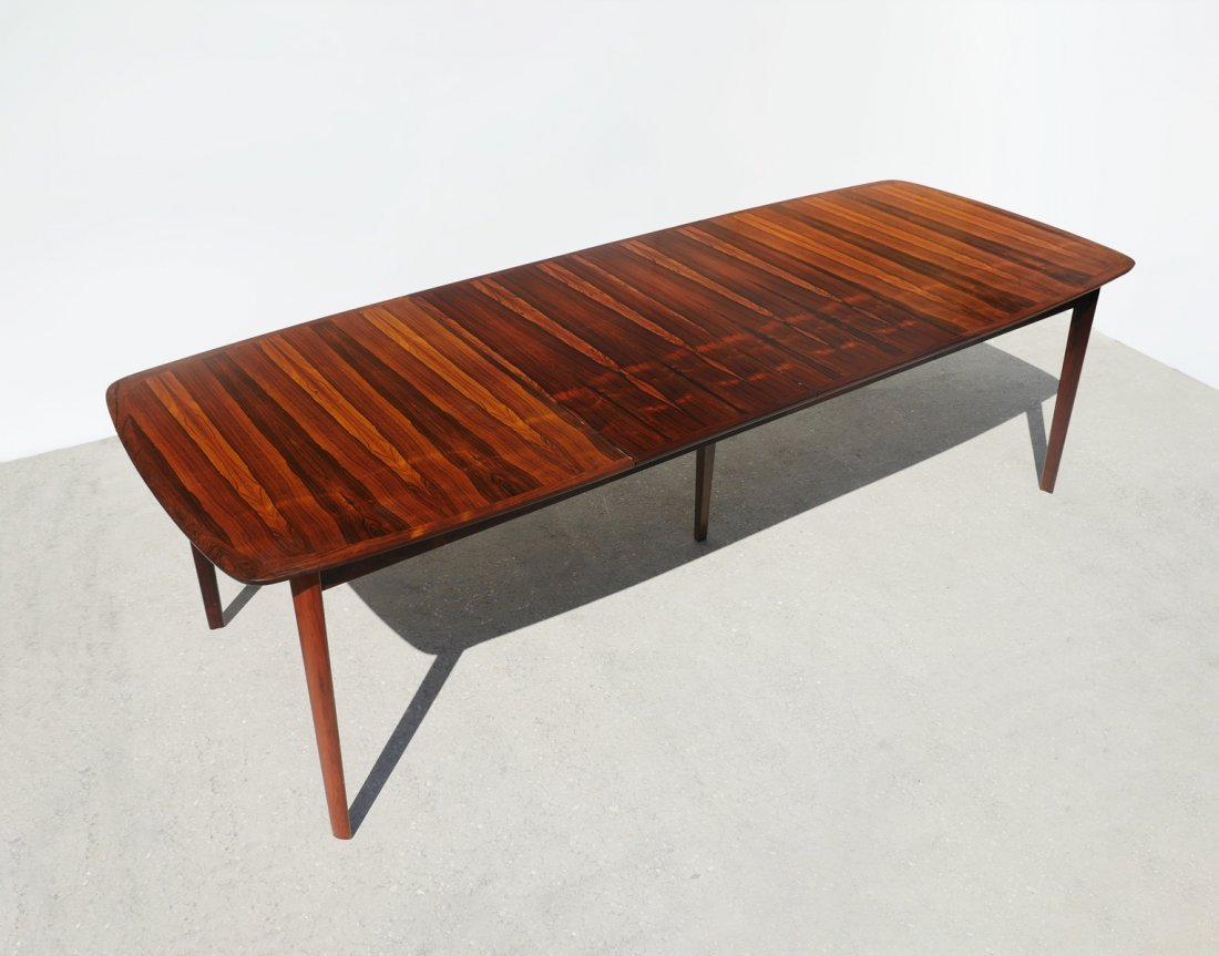 WESNOFA BOOKMATCH ROSEWOOD DINING TABLE W 2 LEAVES