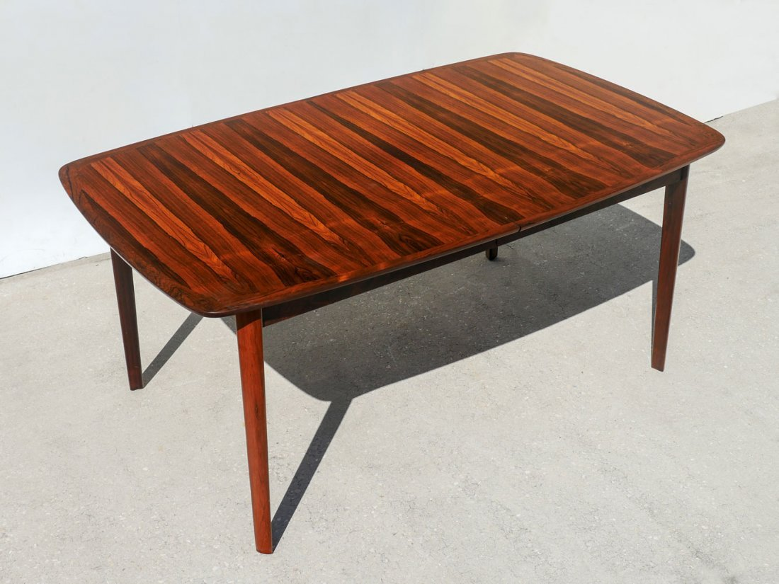 WESNOFA BOOKMATCH ROSEWOOD DINING TABLE W 2 LEAVES - 3