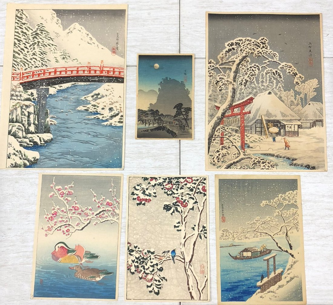 6 TAKAHASHI SHOTEI JAPANESE WOODBLOCK PRINTS