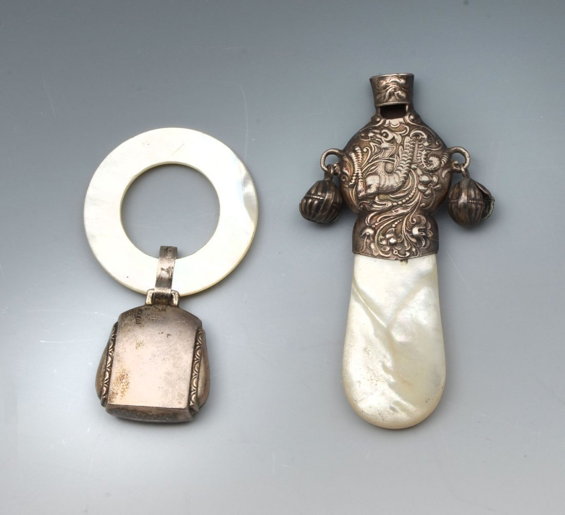 2 PC. STERLING WHISTLE AND BABY RATTLE