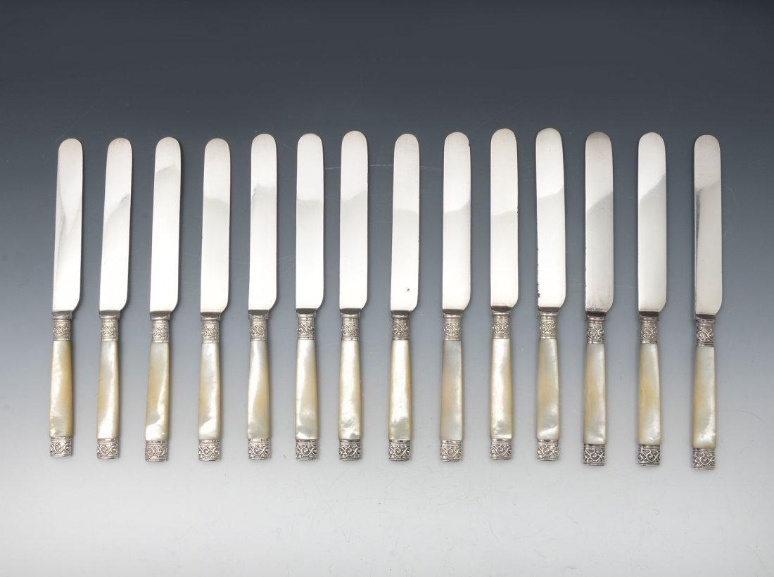 14 MOTHER OF PEARL & STERLING HANDLED KNIVES