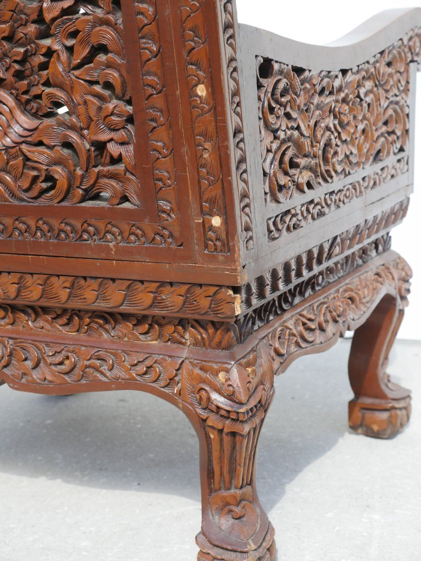 CARVED SOUTH EAST ASIAN ARM CHAIR - 3