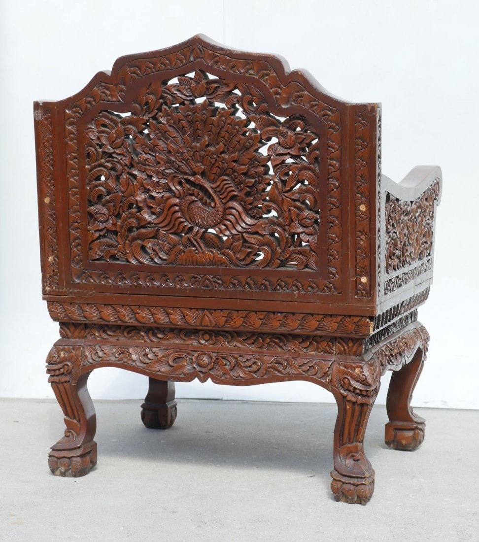 CARVED SOUTH EAST ASIAN ARM CHAIR - 4