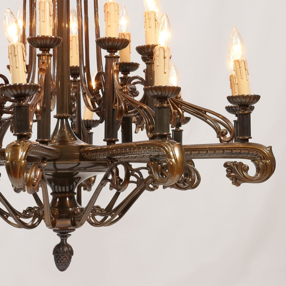 20 LIGHT PATINATED CHANDELIER - 2