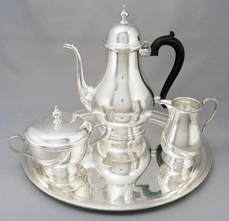 1001: TIFFANY & CO QUEEN ANNE STERLING TEA SET W/TRAY