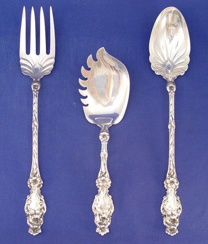 1018: 3 WHITING ''LILY'' STERLING SERVING PIECES