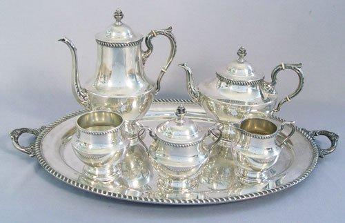 1019: POOLE GEORGIAN 6 PC STERLING TEA SET &TRAY 177oz