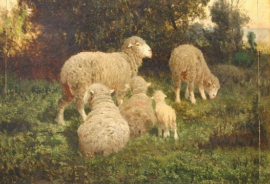 1023: 19th C. LANDSCAPE PAINTING SHEEP