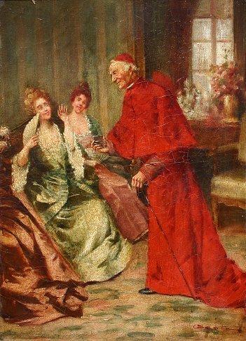1024: 19TH C  CATHOLIC CARDINAL GENRE PAINTING