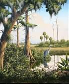 1270: ORIGINAL ESSENBURG FLORIDA HERON SWAMP PAINTING