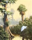 1271: ESSENBURG ORIGINAL HERON SWAMP PAINTING FLORIDA