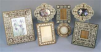 1283 7 PC COLLECTION LOT OF BONE  IVORY INLAY FRAMES