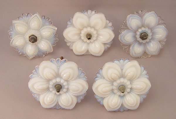 1327: 5 VINTAGE OPALESCENT GLASS CURTAIN TIE BACKS