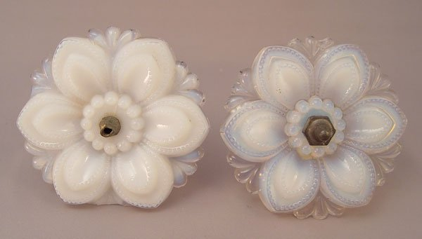 1327: 5 VINTAGE OPALESCENT GLASS CURTAIN TIE BACKS - 4