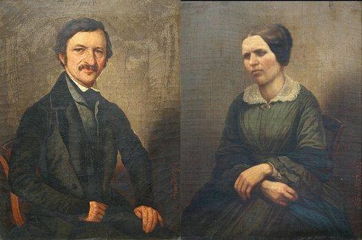 1021: 2 JOHANN GRUND PORTRAIT PAINTINGS 1857