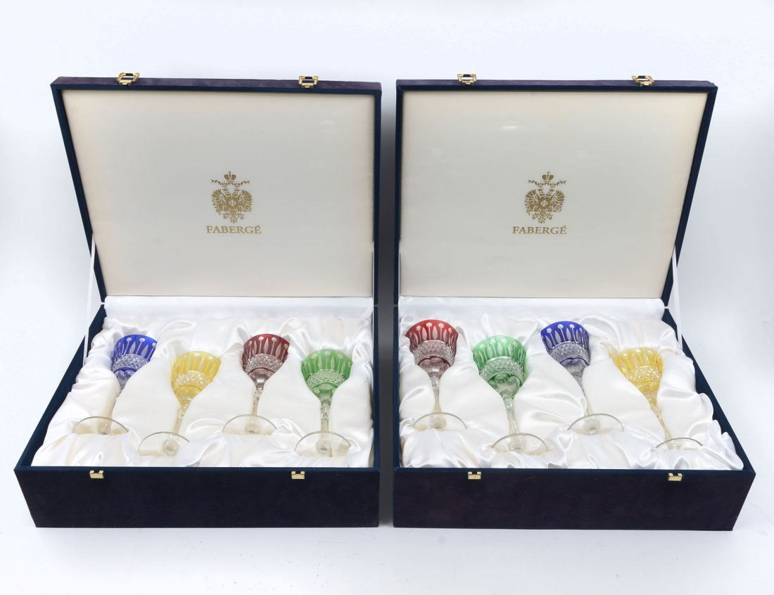 2 BOXES FABERGE XENIA CUT TO CLEAR WINE GOBLETS - 2