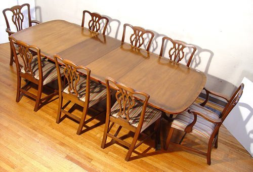 11: KITTINGER MAHOGANY DINING TABLE  8 CHAIRS leaves