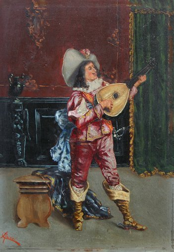 24: MANDOLIN PLAYER PAINTING ITALIAN ILLEGIBLY SIGNED