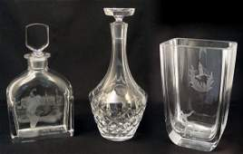 441 3 PC ORREFORS CRYSTAL  DECANTERS  VASE