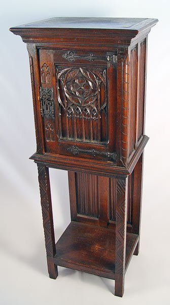 9: BELGIAN CARVED OAK RECTORY OR SIDE CABINET