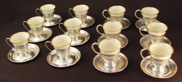 378: LENOX GORHAM DEMITASSE CUPS AND SAUCERS