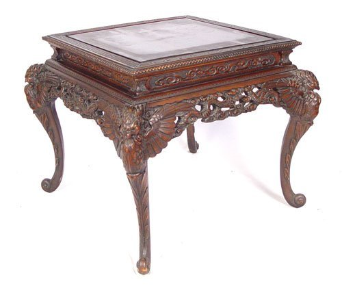 1016: DRAGON & PHOENIX CARVED CHINESE FOYER TABLE