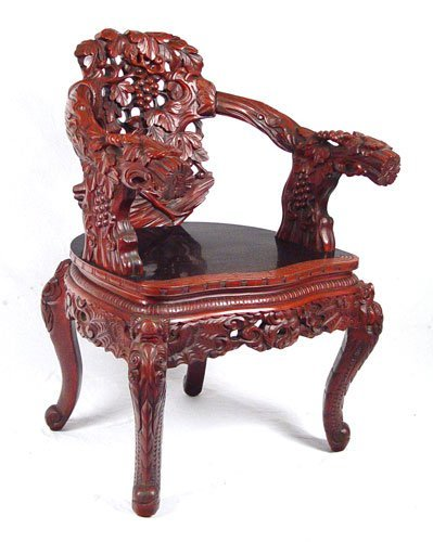 1018: CHINESE GRAPEVINE CARVED AND LACQUER ARM CHAIR