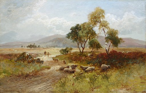 1019: WILLIAM MANNERS PAINTING WITH SHEEP