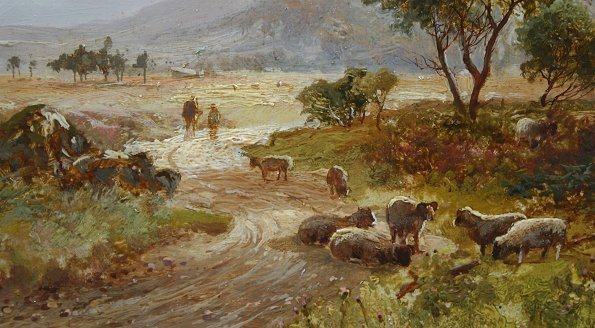 1019: WILLIAM MANNERS PAINTING WITH SHEEP - 2