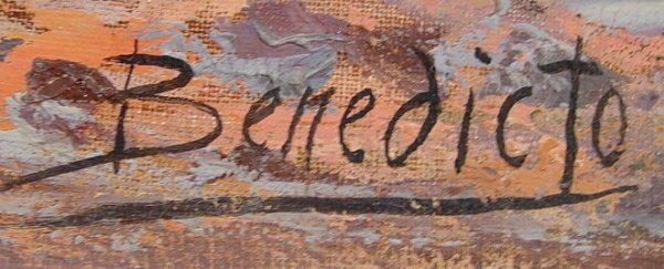 1046: SPANISH LANDSCAPE PAINTING SIGNED BENEDICTO - 2