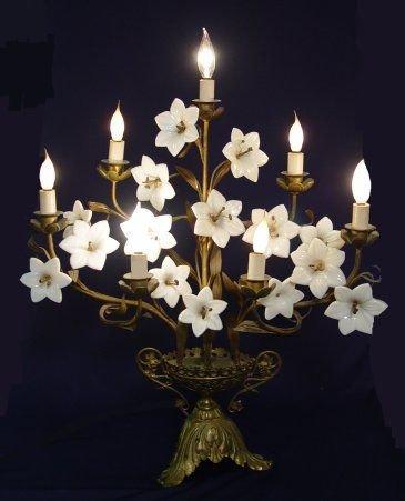 1001: 1930'S  METAL CANDELABRA LAMP  OPALESCENT GLASS