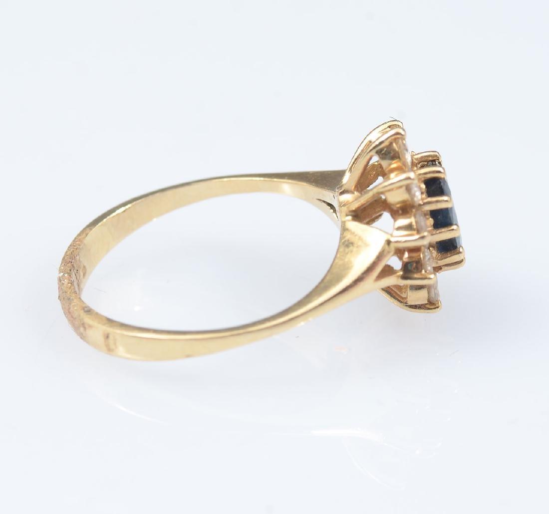 14K SAPPHIRE & DIAMOND RING - 2